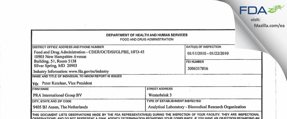 PRA International Group BV FDA inspection 483 Jan 2010