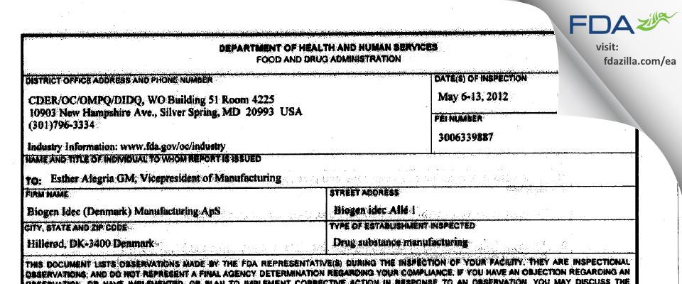 Biogen Idec (Denmark) Manufacturing ApS FDA inspection 483 May 2013