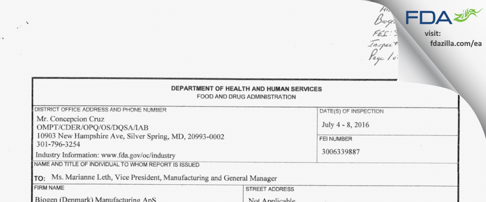 Biogen Idec (Denmark) Manufacturing ApS FDA inspection 483 Jul 2016
