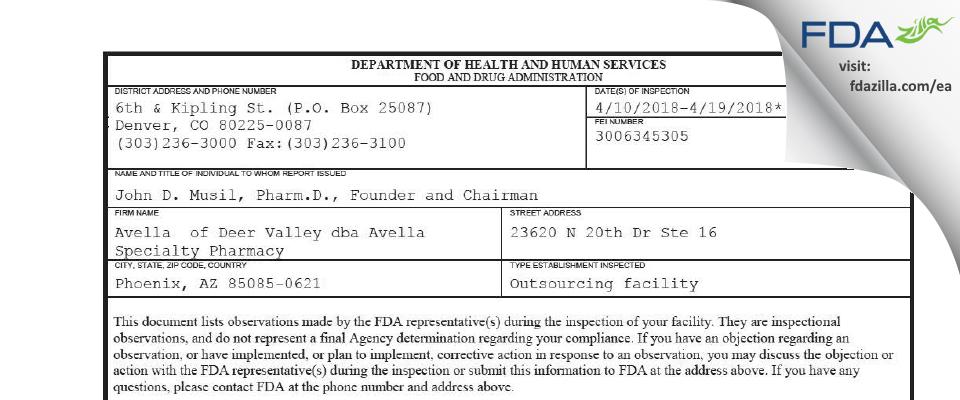 Avella  of Deer Valley dba Avella Specialty Pharmacy FDA inspection 483 Apr 2018