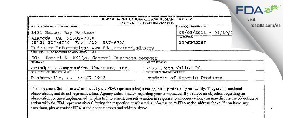 Grandpa's Compounding Pharmacy FDA inspection 483 Sep 2013