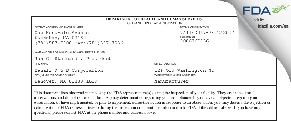 Denali R & D FDA inspection 483 Jul 2017