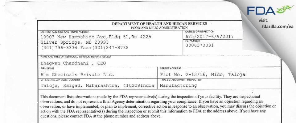 Kim Chemicals Private FDA inspection 483 Jun 2017