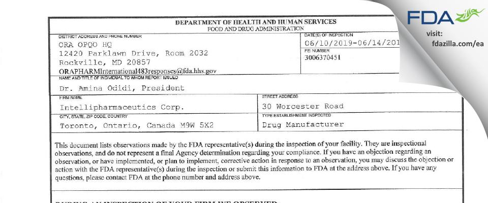 IntelliPharmaCeutics FDA inspection 483 Jun 2019