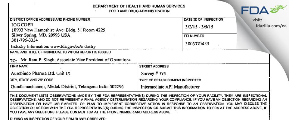 Aurobindo Pharma Limited - Unit 9 FDA inspection 483 Mar 2015