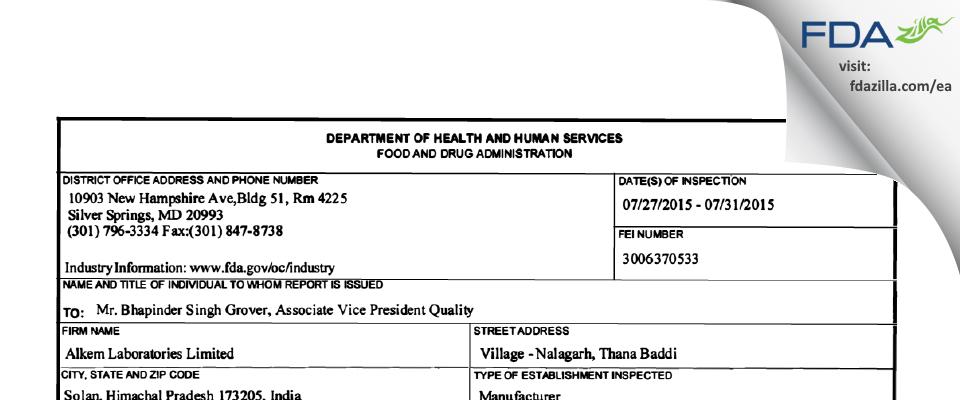 Alkem Labs FDA inspection 483 Jul 2015