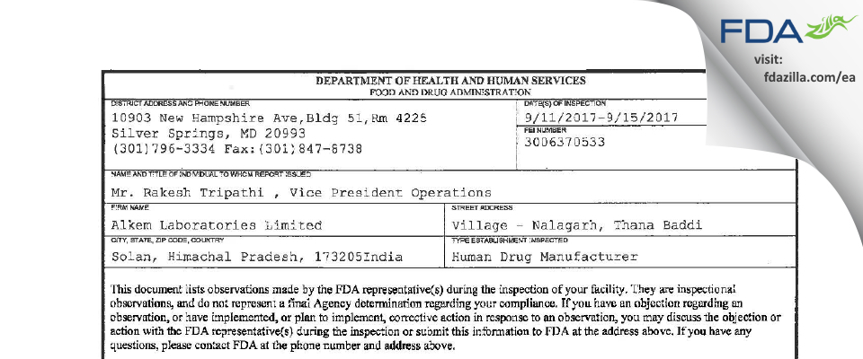 Alkem Labs FDA inspection 483 Sep 2017