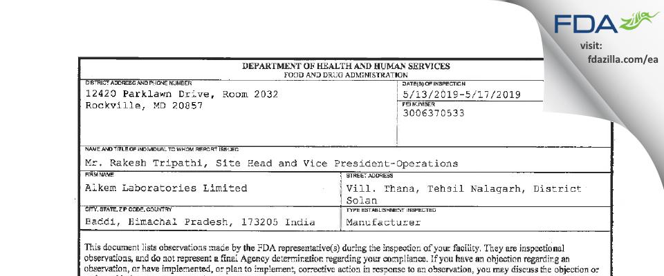 Alkem Labs FDA inspection 483 May 2019