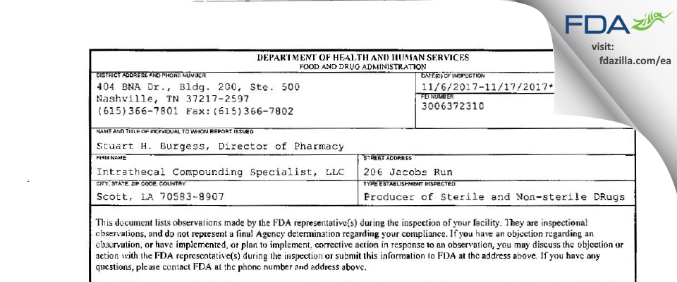 Intrathecal Compounding Specialist FDA inspection 483 Nov 2017