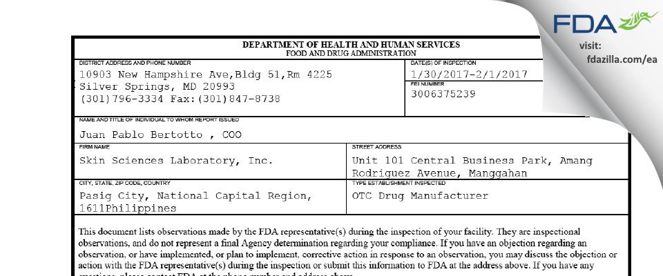 Skin Sciences Laboratory FDA inspection 483 Feb 2017