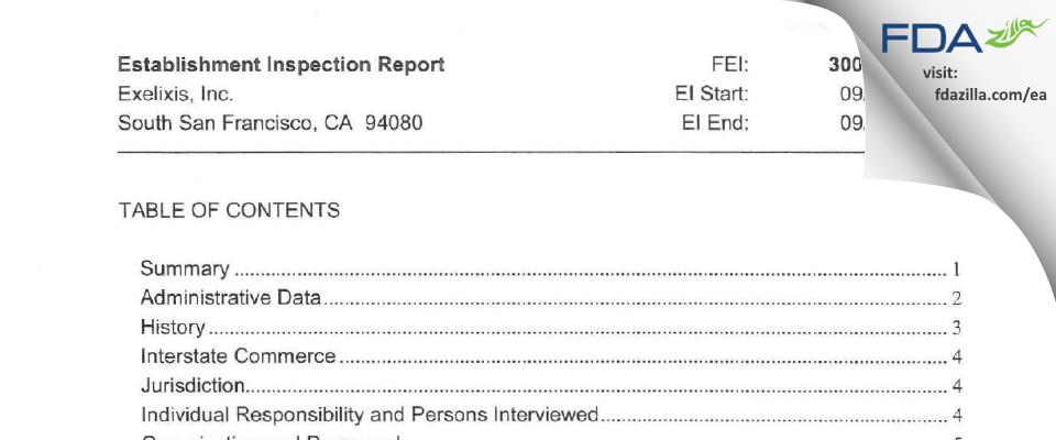 Exelixis FDA inspection 483 Sep 2012