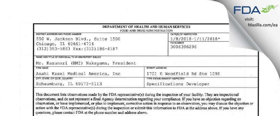 Asahi Kasei Medical America FDA inspection 483 Jan 2018