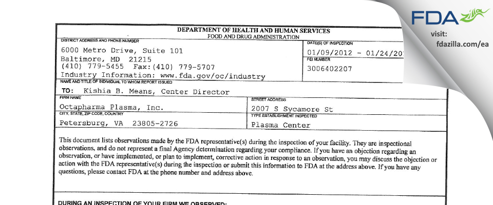 Octapharma Plasma FDA inspection 483 Jan 2012