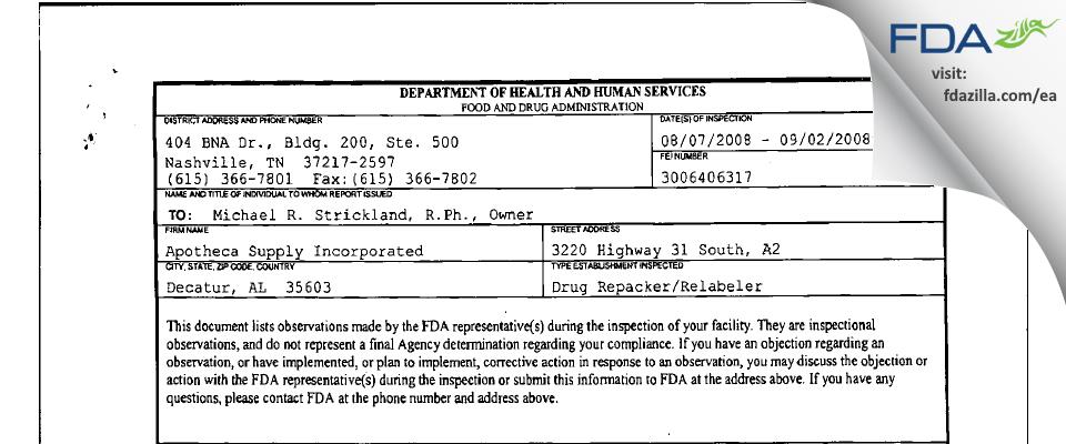 Apotheca Supply FDA inspection 483 Sep 2008