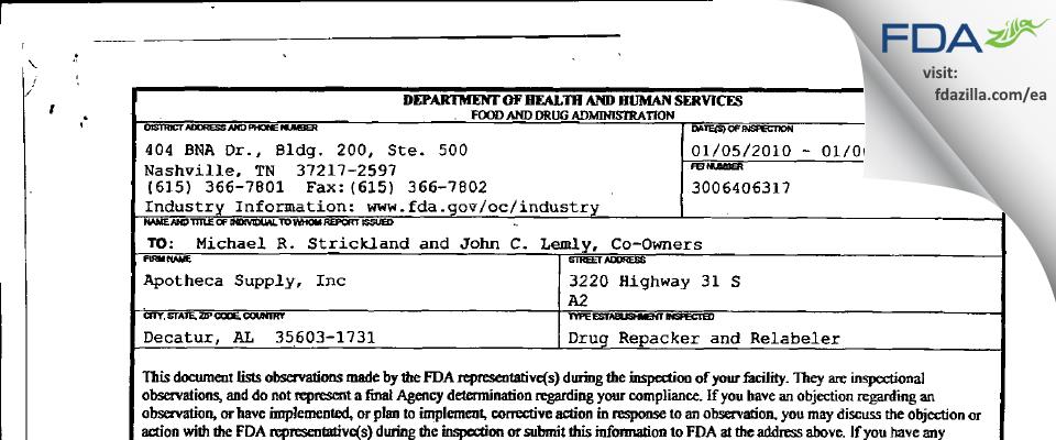 Apotheca Supply FDA inspection 483 Jan 2010