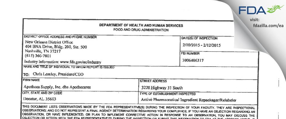 Apotheca Supply FDA inspection 483 Feb 2015