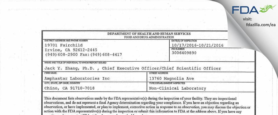 Amphastar Labs FDA inspection 483 Oct 2016