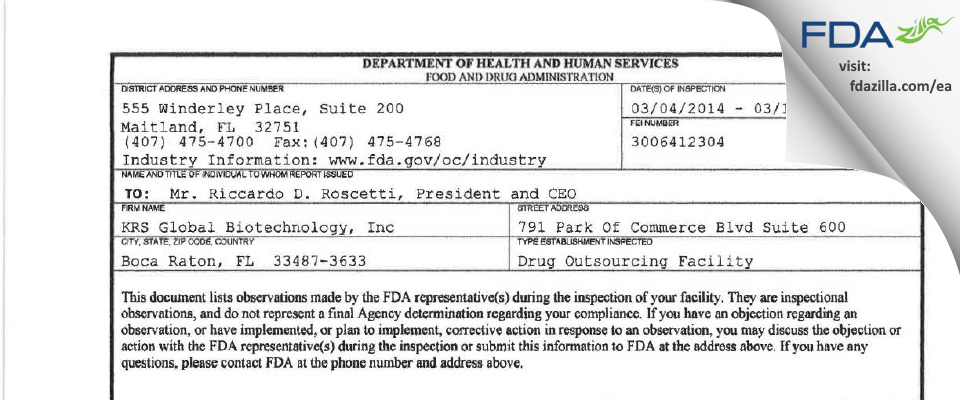 KRS Global Biotechnology FDA inspection 483 Mar 2014