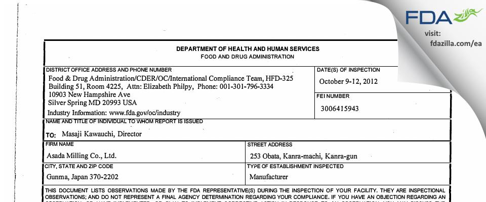 Asada Milling FDA inspection 483 Oct 2012