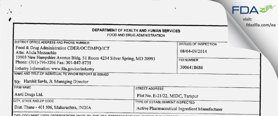 Aarti Drugs FDA inspection 483 Aug 2014