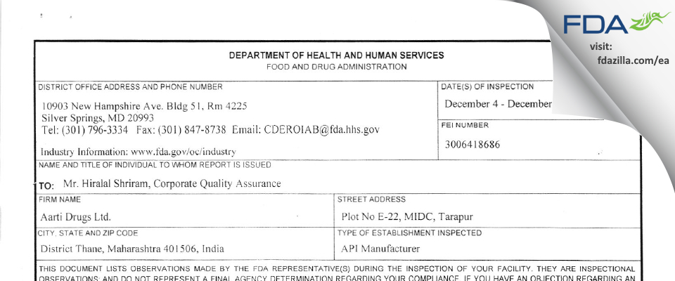 Aarti Drugs FDA inspection 483 Dec 2017