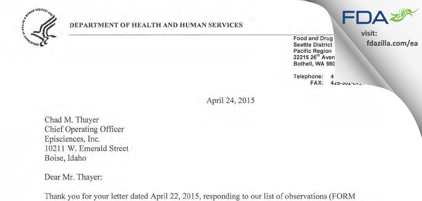 Episciences FDA inspection 483 Apr 2015