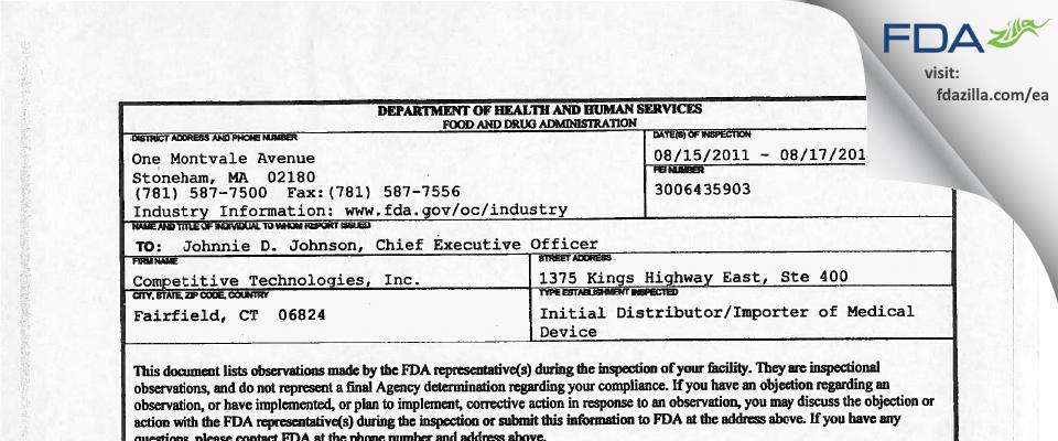 Calmare Therapeutics FDA inspection 483 Aug 2011