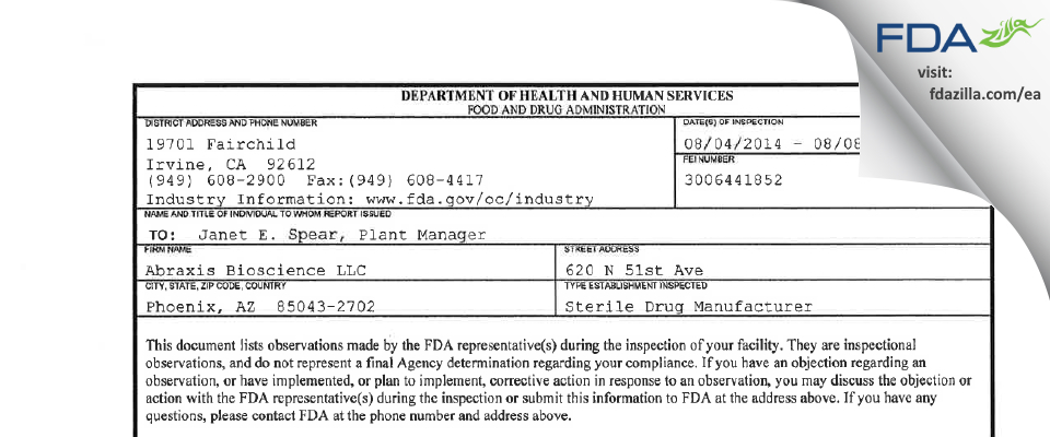Abraxis Bioscience FDA inspection 483 Aug 2014