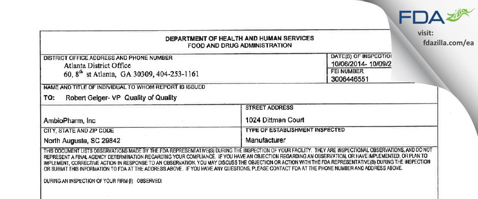 AmbioPharm FDA inspection 483 Oct 2014
