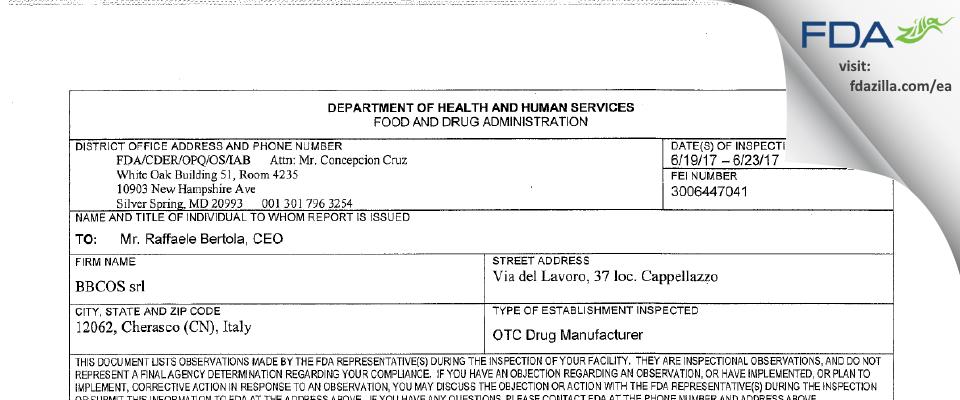 BBCOS srl FDA inspection 483 Jun 2017