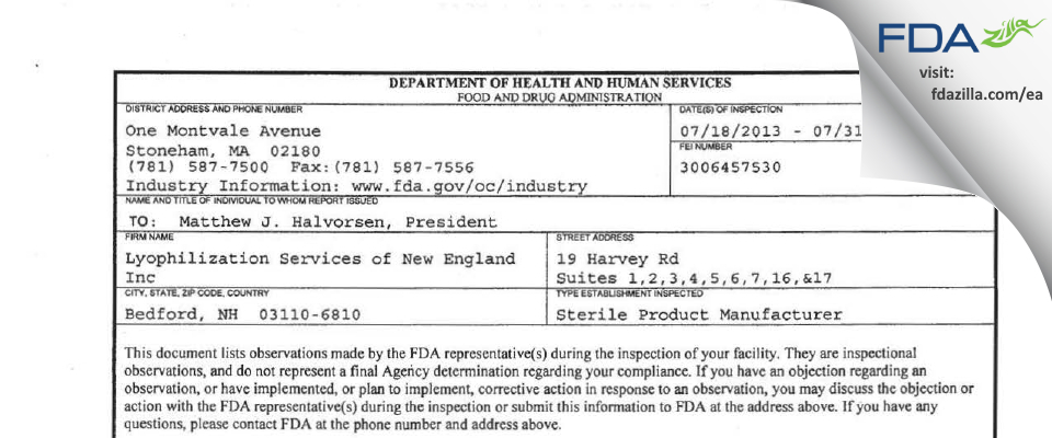 Lyophilization Services of New England FDA inspection 483 Jul 2013