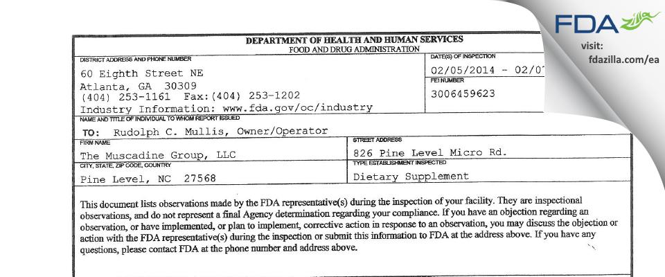The Muscadine Group FDA inspection 483 Feb 2014