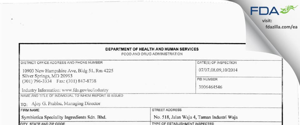Symbiotica Speciality Ingredients, Sdn. Bhd. FDA inspection 483 Jul 2014