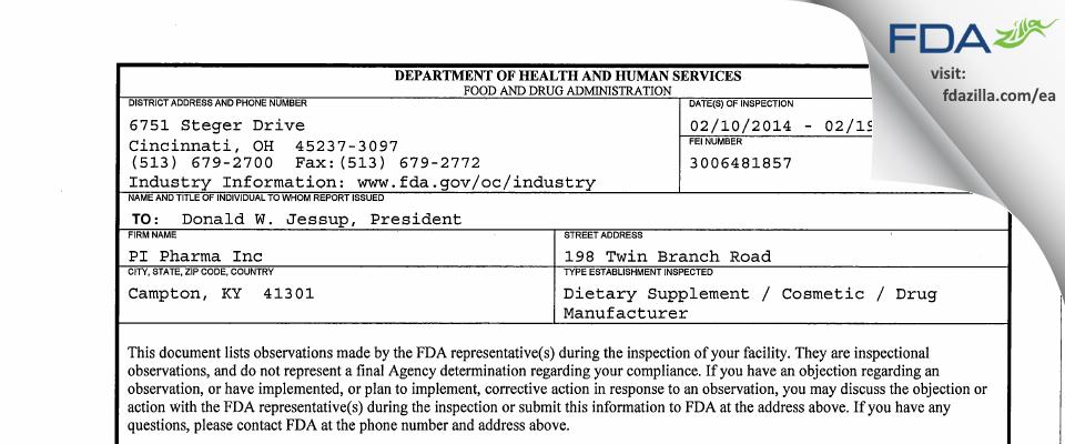 PI Pharma FDA inspection 483 Feb 2014