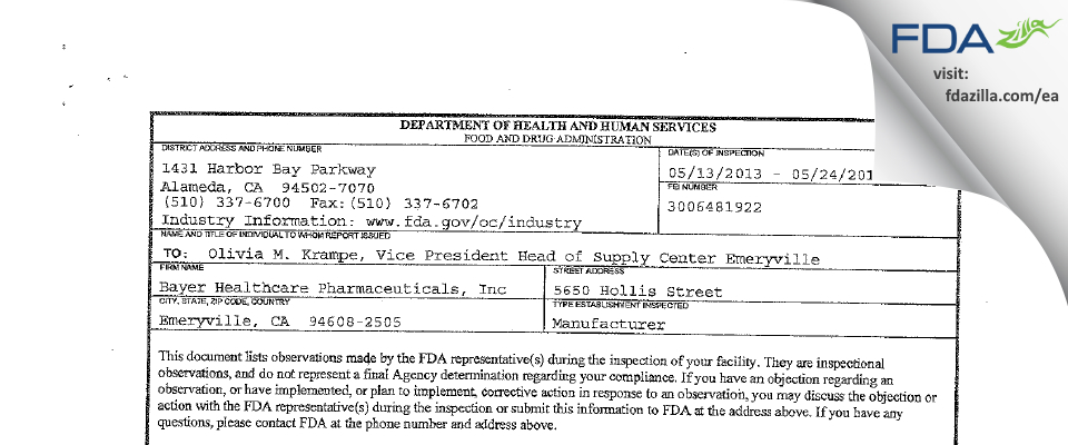 Bayer Healthcare Pharmaceuticals FDA inspection 483 May 2013