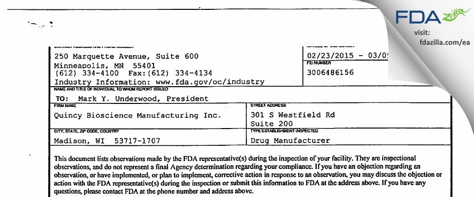 Quincy Bioscience Holding Company FDA inspection 483 Mar 2015