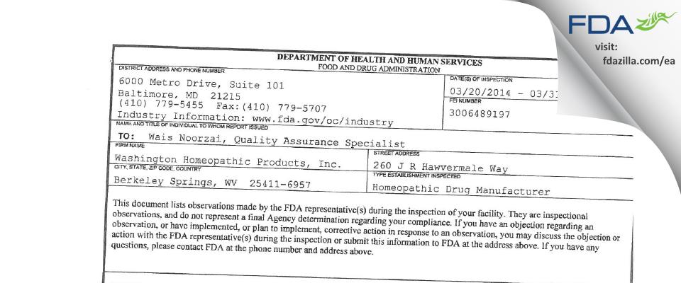 Washington Homeopathic Products FDA inspection 483 Mar 2014