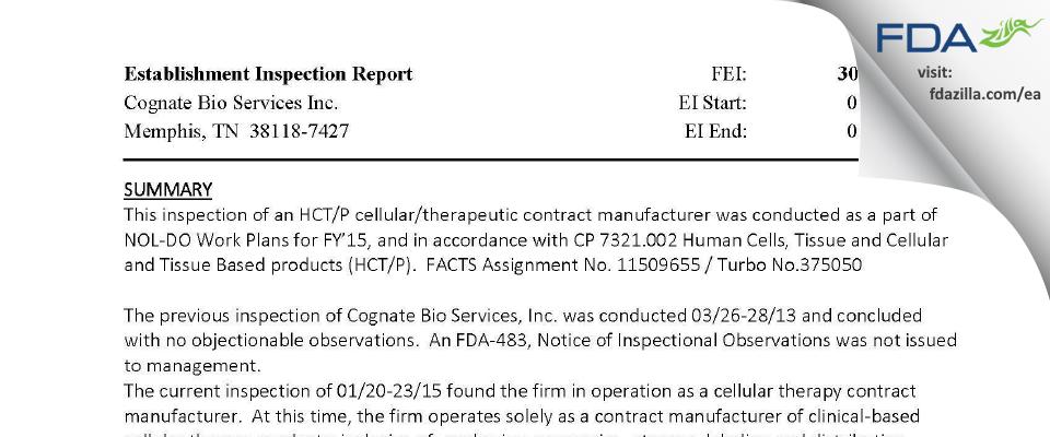 Cognate BioServices FDA inspection 483 Jan 2015