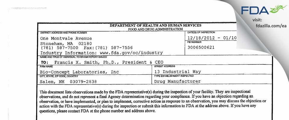 Bio-Concept Labs FDA inspection 483 Jan 2013