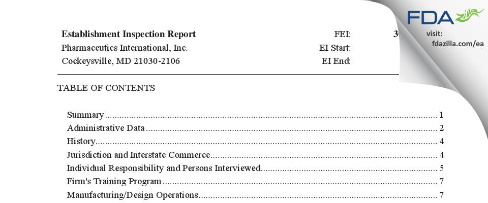 Pharmaceutics International FDA inspection 483 Jul 2020