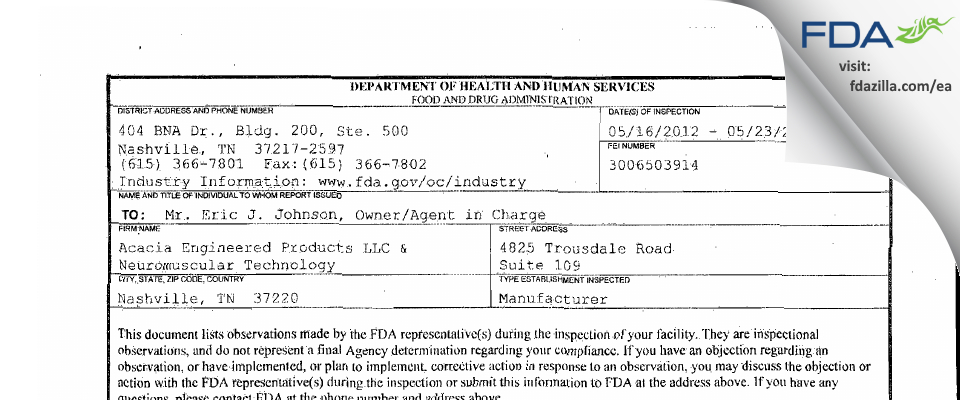 Neuromuscular Technology FDA inspection 483 May 2012