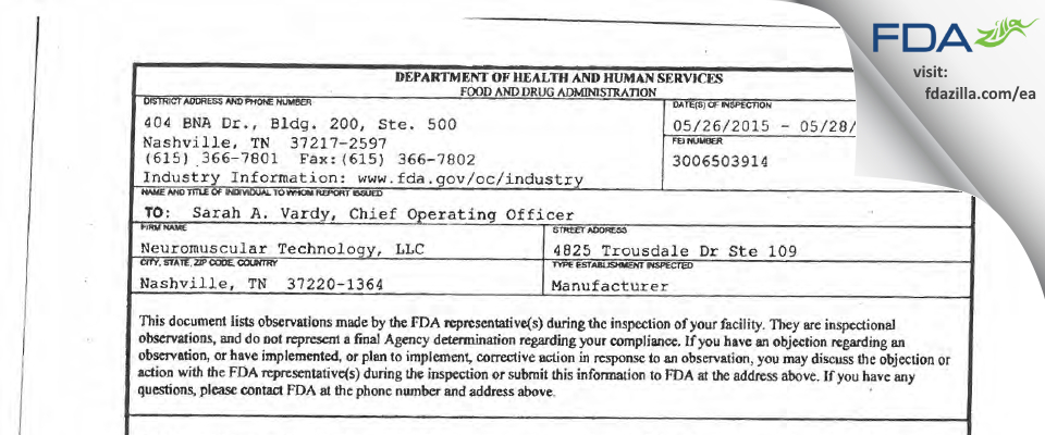 Neuromuscular Technology FDA inspection 483 May 2015