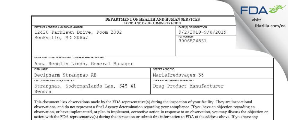Recipharm Strangnas AB FDA inspection 483 Sep 2019