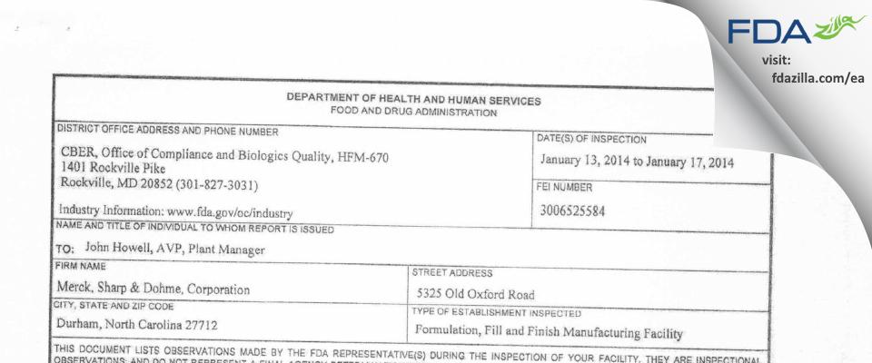 Merck Sharp & Dohme FDA inspection 483 Jan 2014