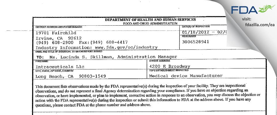 Intraceuticals FDA inspection 483 Feb 2012