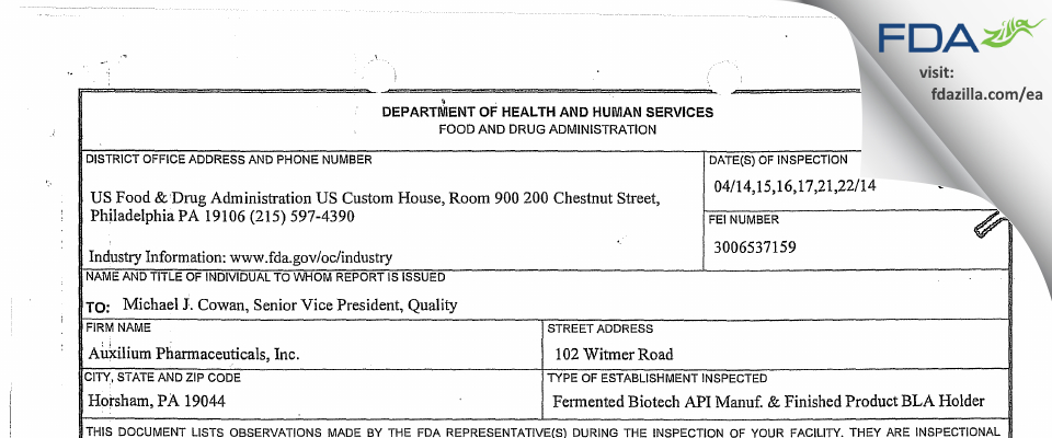 Auxilium Pharmaceuticals FDA inspection 483 Apr 2014