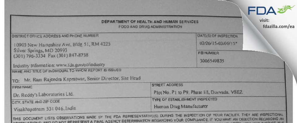 Dr. Reddy's Labs FDA inspection 483 Mar 2015