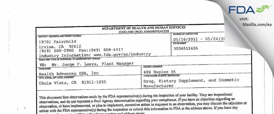Health Advances USA FDA inspection 483 May 2011