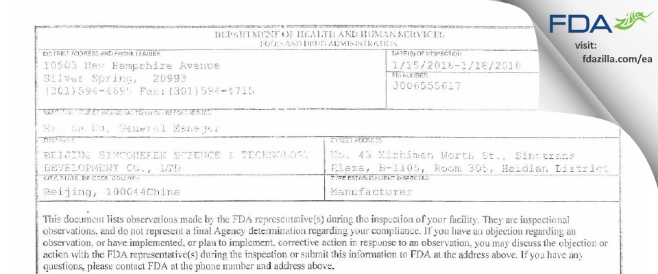 BEIJING SINCOHEREN SCIENCE & TECHNOLOGY DEVELOPMENT CO. FDA inspection 483 Jan 2018