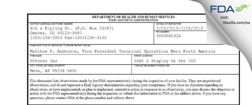 Ulthera FDA inspection 483 Jul 2018
